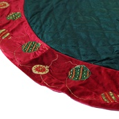 "56"" Green Quilted Tree Skirt with Red Trim"