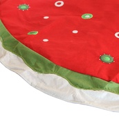 "56"" Fabric Red Christmas Tree Skirt with Circles"