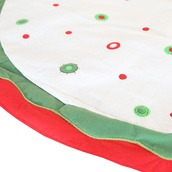 "56"" White Fabric Christmas Tree Skirt with Red and Green Circles"
