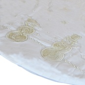"56"" White Velvet Tree Skirt with Beaded Snowmen"