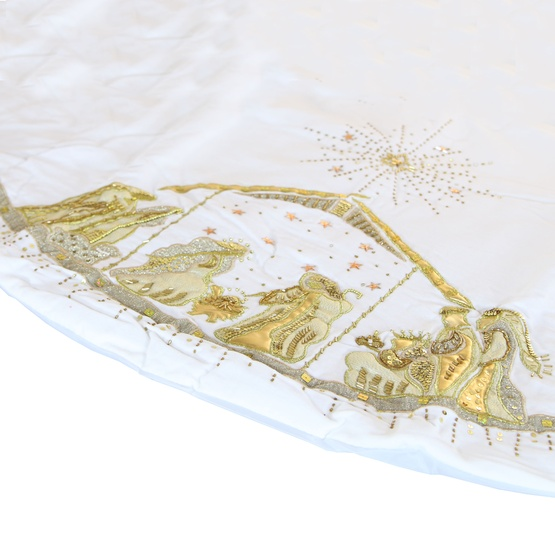 "56"" White Velvet Nativity Tree Skirt"