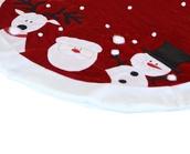 """48"""" Red Velvet Santa Reindeer and Snowman Tree Skirt"""