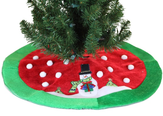 "20"" Mini Christmas Tree Skirt with Snowman"
