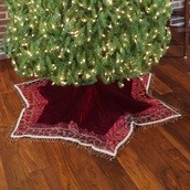 "56"" Solid Burgundy Velvet Tree Skirt with Tassels"