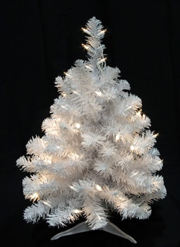 2' White Douglas Fir Table Top Tree, 35 Clear Lamps