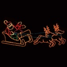 Waving Santa, Sleigh, Reindeer Lawn Decoration