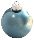"3.25"" Baby Blue Ball Ornament - Shiny Finish"