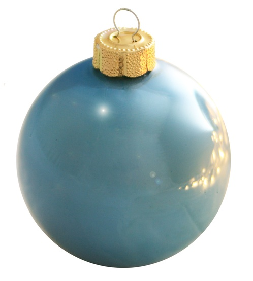 "4"" Baby Blue Ball Ornament - Pearl Finish"