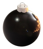"3.25"" Black Ball Ornament - Shiny Finish"