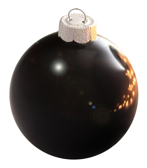 "7"" Black Ball Ornament - Shiny Finish"