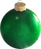"6"" Christmas Green Ball Ornament - Pearl Finish"