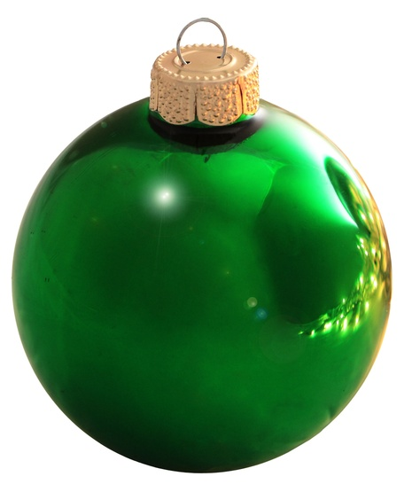 "1.25"" Christmas Green Ball Ornament - Shiny Finish"