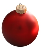 "4"" Christmas Red Ball Ornament - Matte Finish"