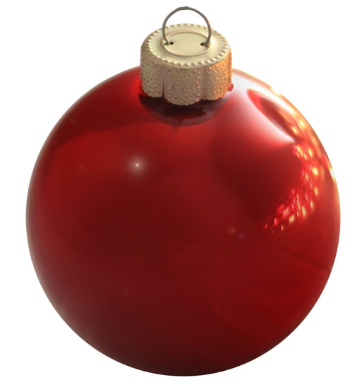 "2"" Christmas Red Ball Ornament - Pearl Finish"