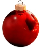 "4"" Christmas Red Ball Ornament - Shiny Finish"