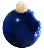 "4"" Cobalt Blue Ball Ornament - Shiny Finish"