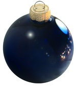 "3.25"" Midnight Blue Ball Ornament - Shiny Finish"