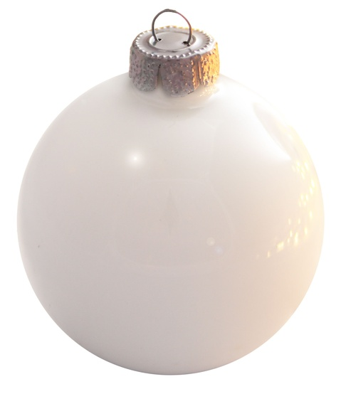 "7"" Polar White Ball Ornament - Pearl Finish"