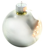 "3.25"" Silver Ball Ornament - Shiny Finish"