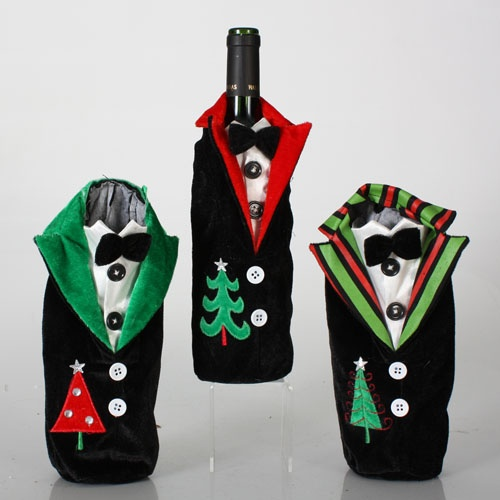 "10"" Plush Tuxedo Wine Bottle Covers, 3 Piece Set"