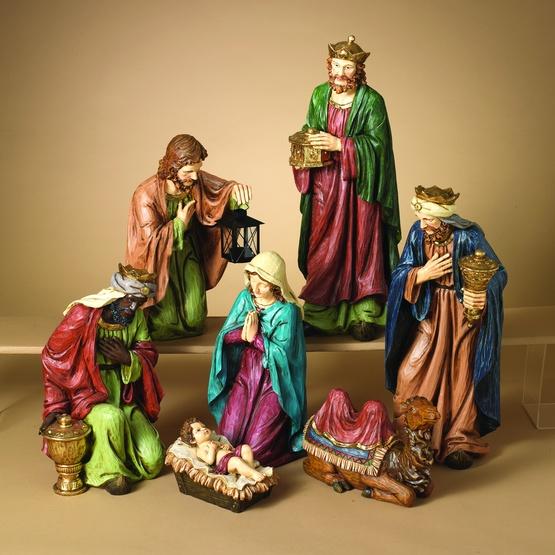"22""H Silent Night Resin Nativity Set, 7 Piece Set"