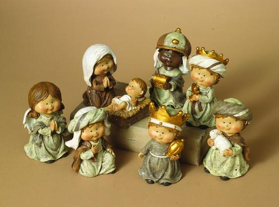 "5""H Resin Childrens Nativity, 8 Piece Set"