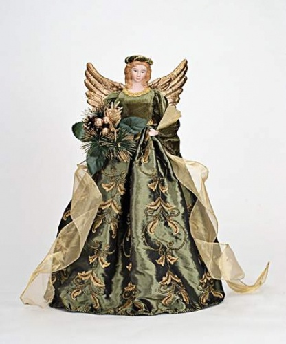 "Christmas Tree Angel Tree Topper: 18"" Green And Gold Angel Tree Topper"