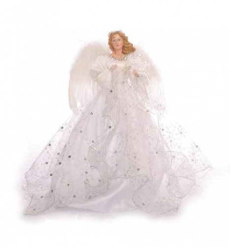 "18"" White and Silver Angel Tree Topper"