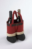 "13"" Burgundy Santa Pants Wine Holder"