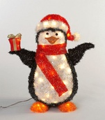"24.8"" Black Lighted Penguin Outdoor Christmas Decoration"