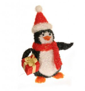 "24"" Tinsel Penguin Outdoor Christmas Decoration"