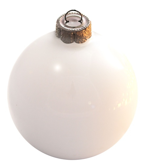 "7"" White Ball Ornament - Pearl Finish"