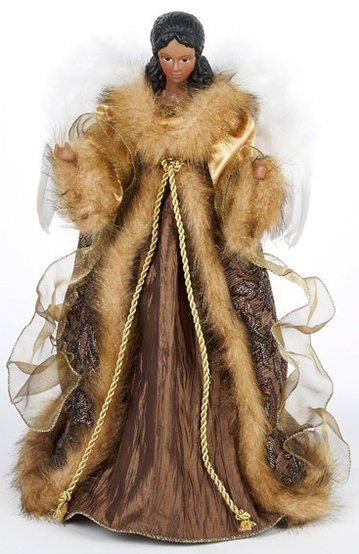 "16"" Fur Trim African American Christmas Tree Topper"