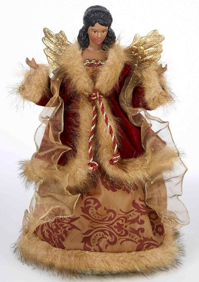 "12"" Burgundy Gold African American Christmas Tree Topper"