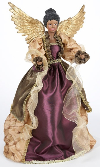 "16"" Gold Winged African American Angel Tree Topper"