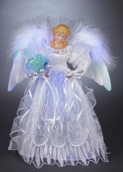"12"" White and Silver LED Fiber Optic Angel Tree Topper"