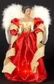 "14"" Red and Gold Lighted Angel Tree Topper"