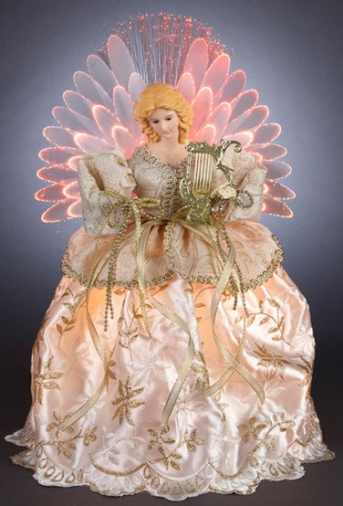 "14"" Gold and Ivory LED Fiber Optic Angel Tree Topper"
