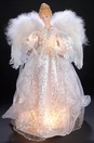 """17"""" White and Silver Lighted Angel Tree Topper"""