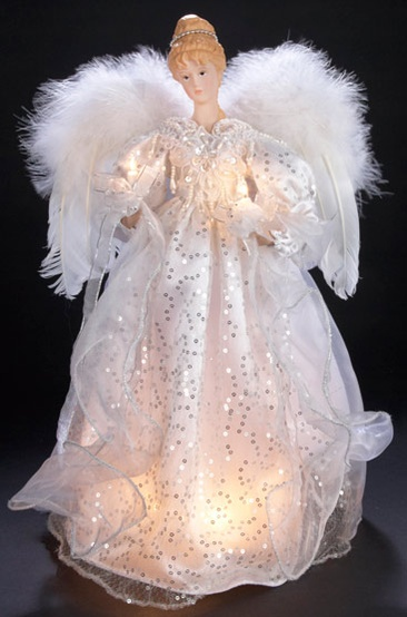 "17"" White and Silver Lighted Angel Tree Topper"