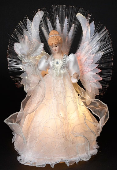 "14"" Multi Fiber Optic Angel Tree Topper"