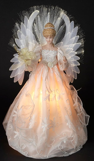 "18"" Ivory Fiber Optic Angel Tree Topper"