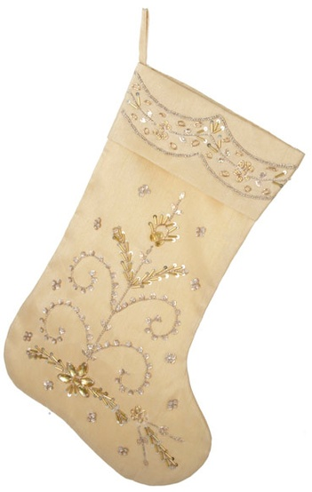 "20"" Gold Hand Embroidered Stocking"