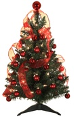 2' Douglas Fir Pre-Decorated Table Top Tree, 35 Clear Lamps, Red Ornaments