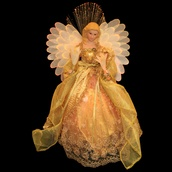 "14"" Gold Fiber Optic Angel Tree Topper"