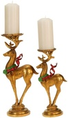 Festive Deer Candle Holders, 2 Piece Set