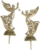 "13"" Gold Rejoicing Angels Stocking Holders, 2 Piece Set"