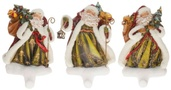 "10"" Old World Santa Christmas Stocking Holders, 3 Piece Set"