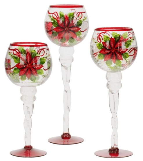 Crackled Poinsettia Candle Holders, 3 Piece Set
