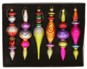 "6"" Multicolor Finial Ornament Set - Painted Finish"